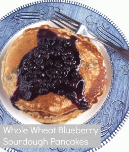 Whole Wheat Blueberry Pancakes with Meyer Lemon Blueberry Syrup for pinning